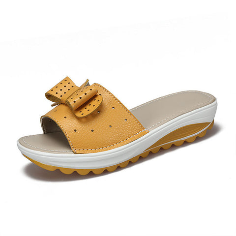 Casual Leather Platform Wedges Beach Summer Sandals