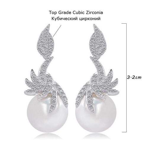 Micro Paved Cubic Zircon Silver Dangle Drop Pearl Earrings