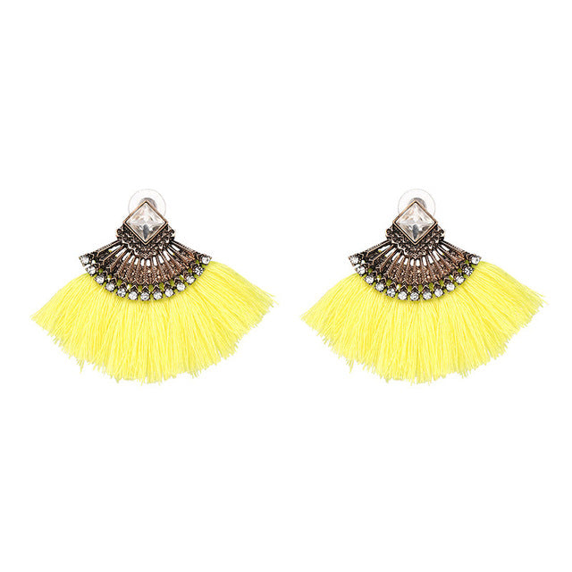 Fan Shaped Handmade Cotton Tassel Earrings