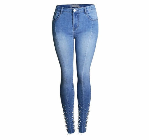 Ladies Cotton Pearl Denim Ripped Skinny Jeans Pants