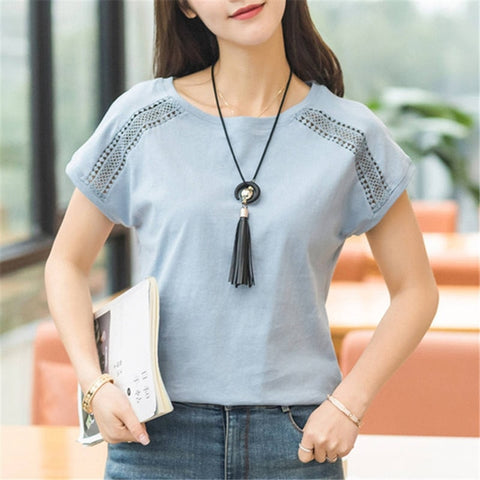 Cotton Summer Lace Batwing Sleeve Shirts Tops