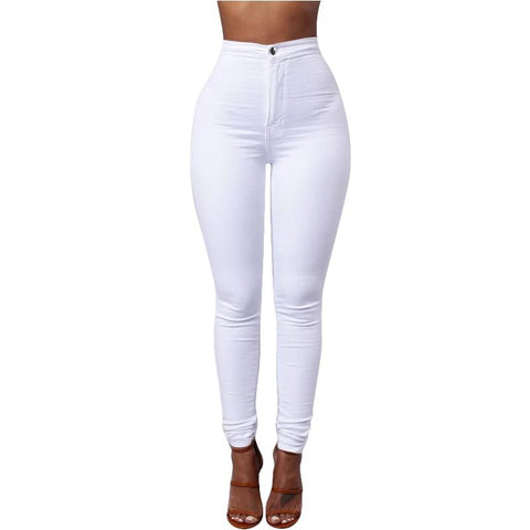 Casual High Waist Pencil Stretch Denim Pants Jeans Skinny Trousers