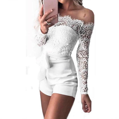 Off  Shoulder Long Sleeve Sheer Lace Patchwork Hollow Bandage Jumpsuit