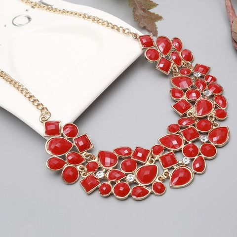 Vintage Gem Gold Silver Plated Collar Necklace