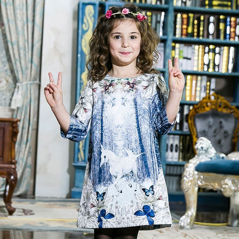 Butterfly Design Unicorn Print Kid's Party Dress
