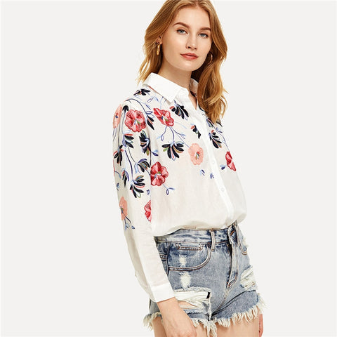 White Floral Embroidery Long Sleeve Button Shirts