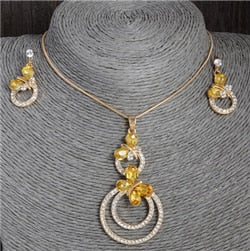 Austrian Crystal Gold Plated Pendant Jewelry Set