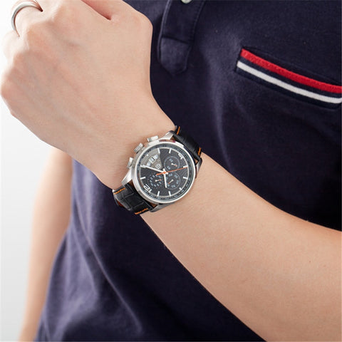 Leather Quartz Movement Men's Wristwatch