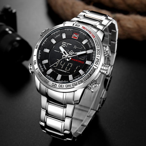 Military Sport LED Analog Digital Stainless Quartz  Watch