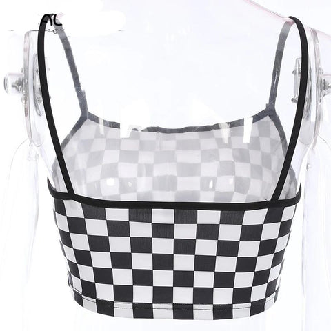 Stretchy Knitted Checkerboard Straps Bodycon Crop Top