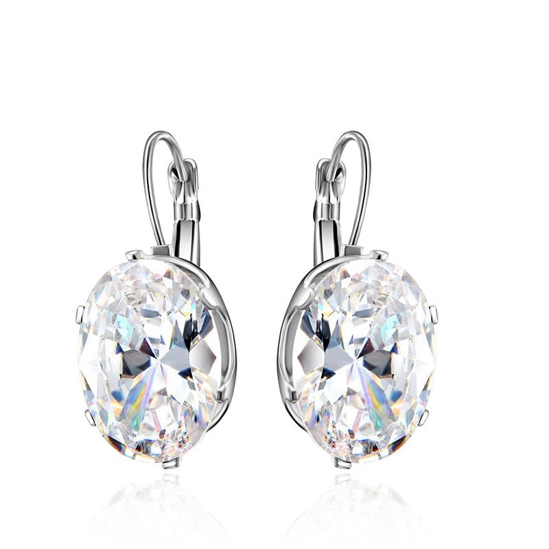 Cubic Zircon Round Shape Wedding Hoop Earrings