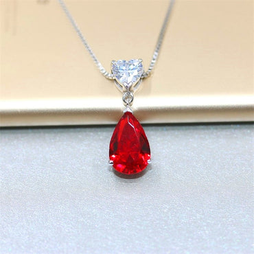 Sterling Silver Heart & Water Drop Classic Gemstone Pendant Necklace