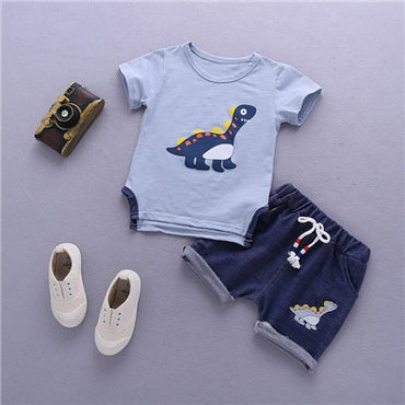 Summer Cute Comfortable Boy's Short Sleeve T-Shirt & Shorts Set