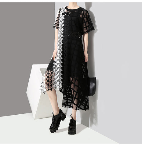Long Black White Lace Hollow Out Asymmetrical Short Sleeve Party Dress
