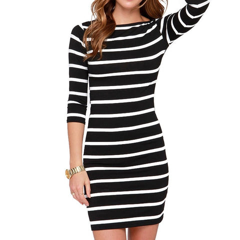 Casual Black and White Fashion Striped Tight Dress