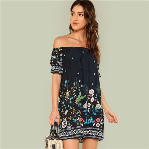 Floral Print Off Shoulder Half Ruffle Sleeve Casual Dress