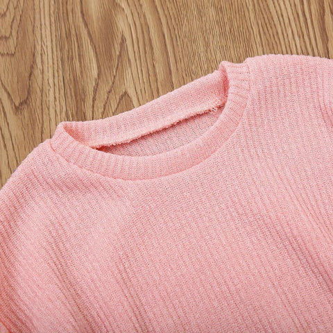 Solid Color Long Lantern Sleeve Girls Sweaters
