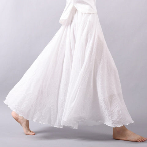 Linen Cotton Elastic Waist Long Pleated Maxi Skirts