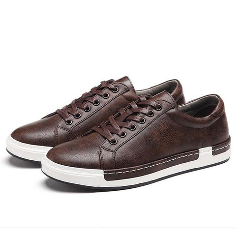 Casual Flat Lace Up PU Leather Stylish Men's Shoes