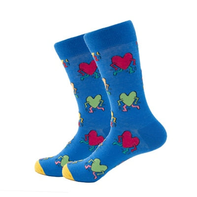 Casual Combed Colorful Avocado Pattern Long Cotton Socks