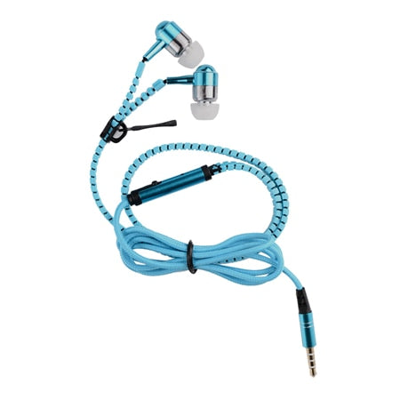 Tangle Free Wired Zipper In-Ear Earphone with Mic