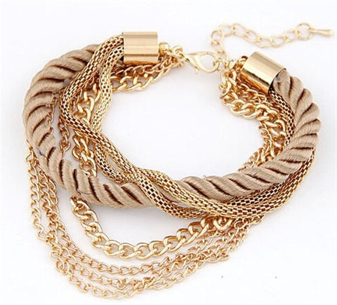 Multi Layer Gold Chain Charm Bracelet