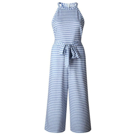 Striped Print Halter Neck Sleeveless Pocket with Belt  Casual Jumpsuit
