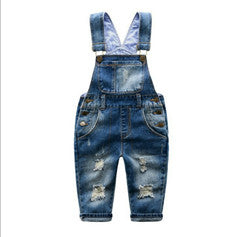 Simple Distressed Ripped Kid's Denim Overalls