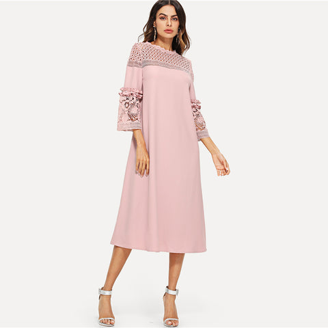 Pearl Beaded Belt Quarter Sleeve Casual Dress