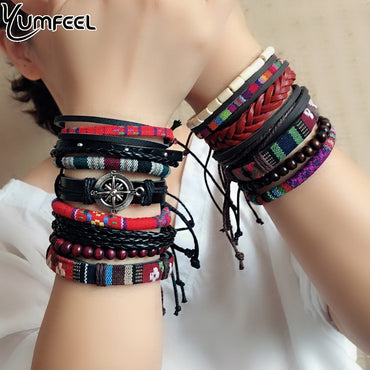 Bohemia Style Leather Handmade Beaded Multi Strand Unisex Bracelets