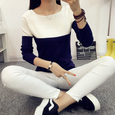 Casual Striped Pattern Knitted Women Pullovers & Sweaters