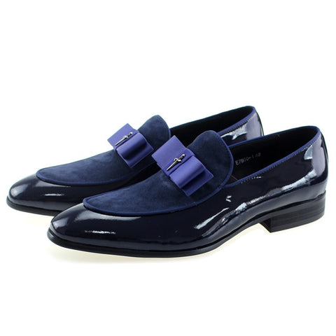 Genuine Leather Bow Tie Patchwork Handmade Moccasin Loafer Shoes