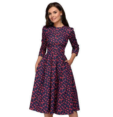 Three Quarter Sleeve Elegant Printed Women Slim Party Dress