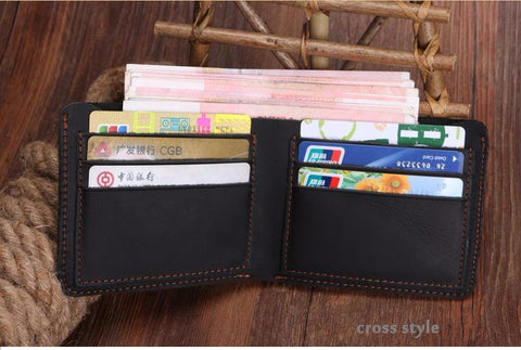 New Genuine Leather Vintage Thin Wallet for Men