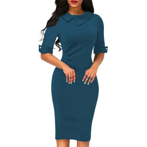 Turn Down Collar Half Sleeve Knee Length Sheath Dress