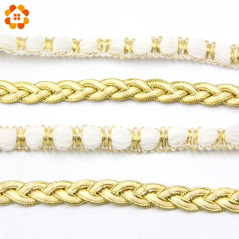 Gold & White Embroidered Trim Fabric Ribbon Soft Net Lace For Decoration