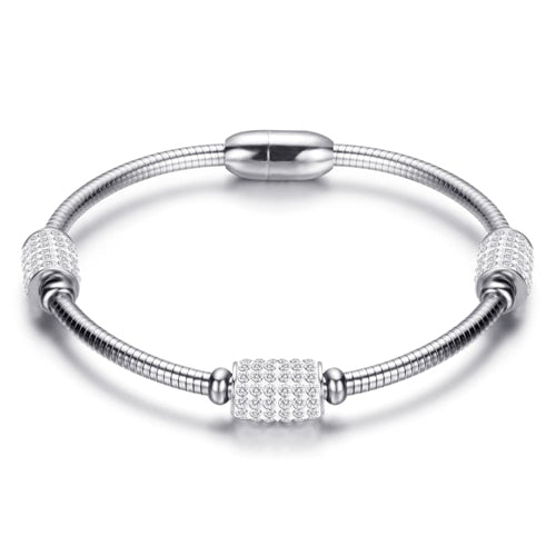 Crystal Bead Snake Chain Bracelet Bangle