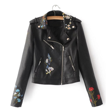 Women Embroidery Faux Leather Turn-down Collar Short  Zipper Jacket Coat