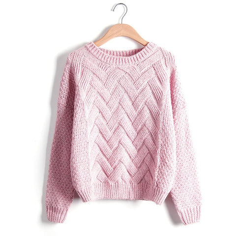 Winter Long Sleeve O-Neck Single Breasted Women Cotton Pullover Sweater