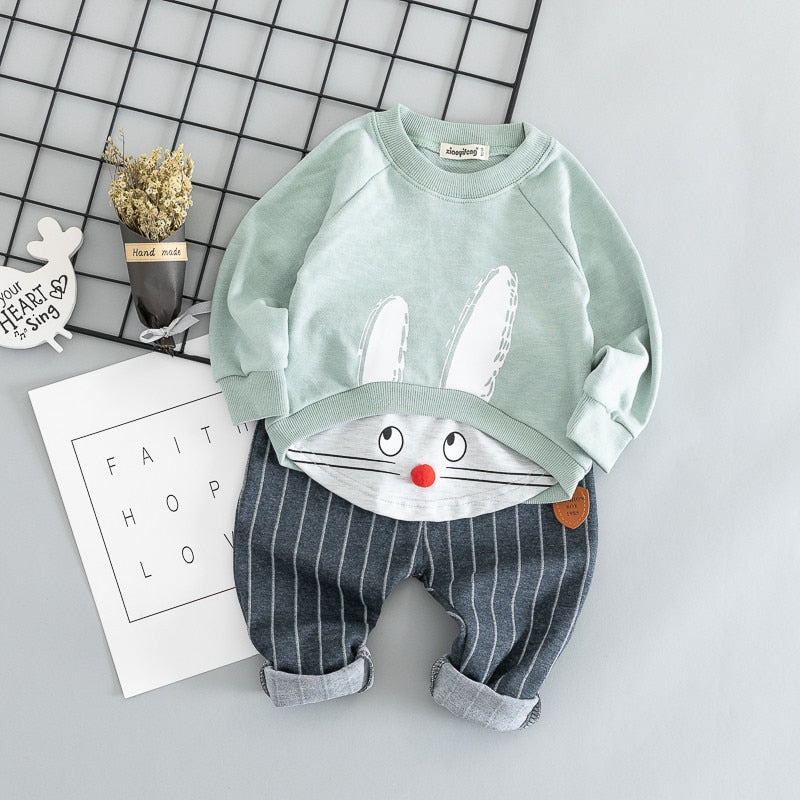 Casual Cartoon Printed Suits Set