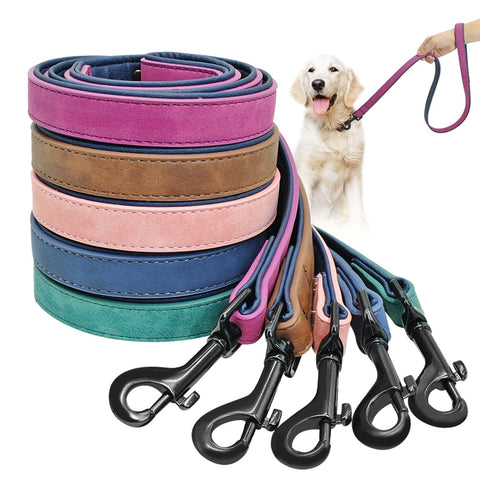 Leather Leash Lead Dog Harness Training Rope Belt