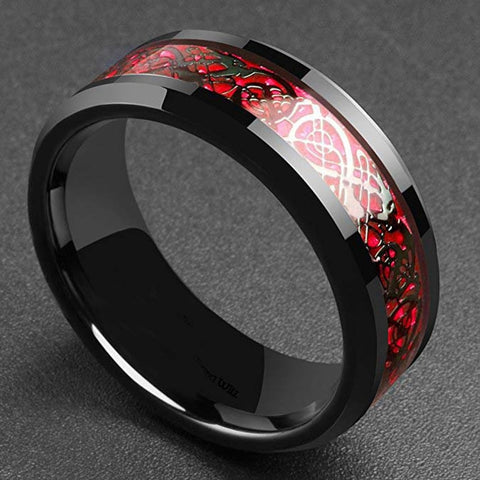 Carbon Fiber Black Dragon Inlay Comfort Fit Stainless Steel Men's Ring