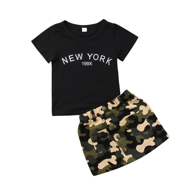 Camouflage Printed Button Pocket Short Skirt with Short Sleeve T-Shirt