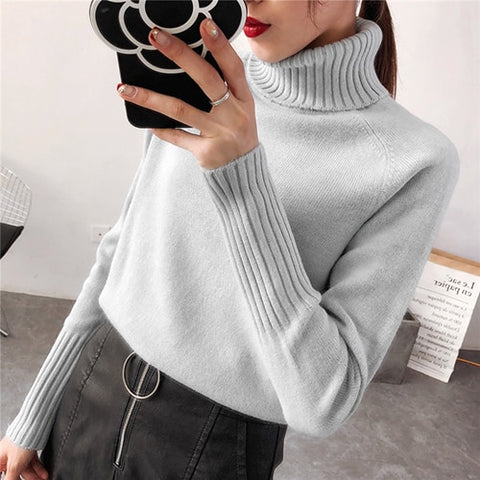 Cashmere Knitted Turtleneck Long Sleeves Sweater for Women