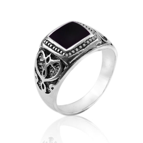 Antique Silver Plated Black Square Enamel Unisex Ring