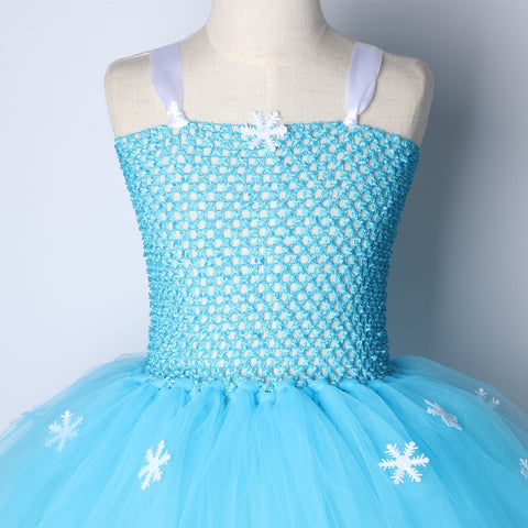 Sky Blue Princess Elsa Snow Flake Costume Birthday Party Tutu Dress