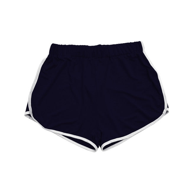 Summer Contrast Binding Side Split Elastic Waist Shorts Pants