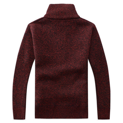 Casual Solid Faux Fur Wool Turn Down Collar Zipper Sweater