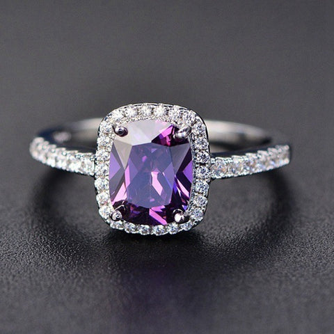 Colorful Crystal Silver Women Rings