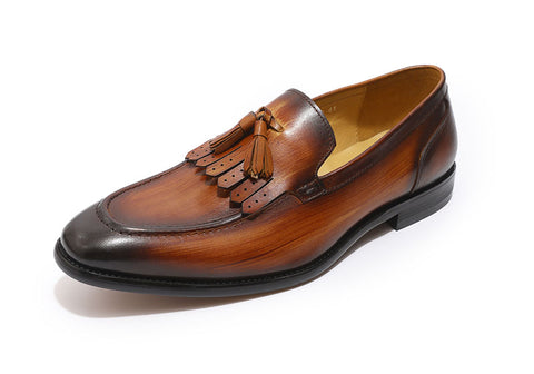 Genuine Leather Handmade Moccasin Loafers with Tassel